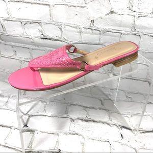 Talbots flip flop pink patent leather sandals